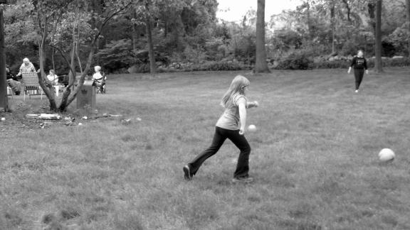 Lauren playing kickball