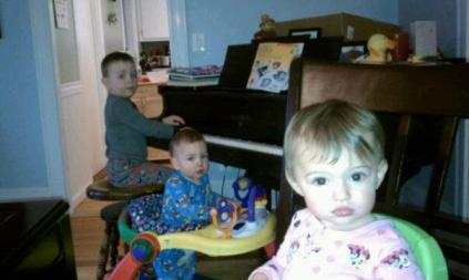 JP at the piano with Jackson and Mackenzie - 4 years