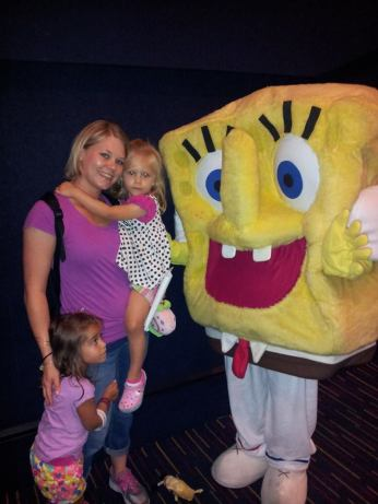 A little scared up close but meeting Spongebob was a hit!