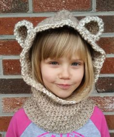 Hooded cowl with ears. One of my favorite projects I ever made!