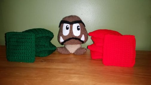 A Goomba (character from Super Mario Bros) and beanbag game