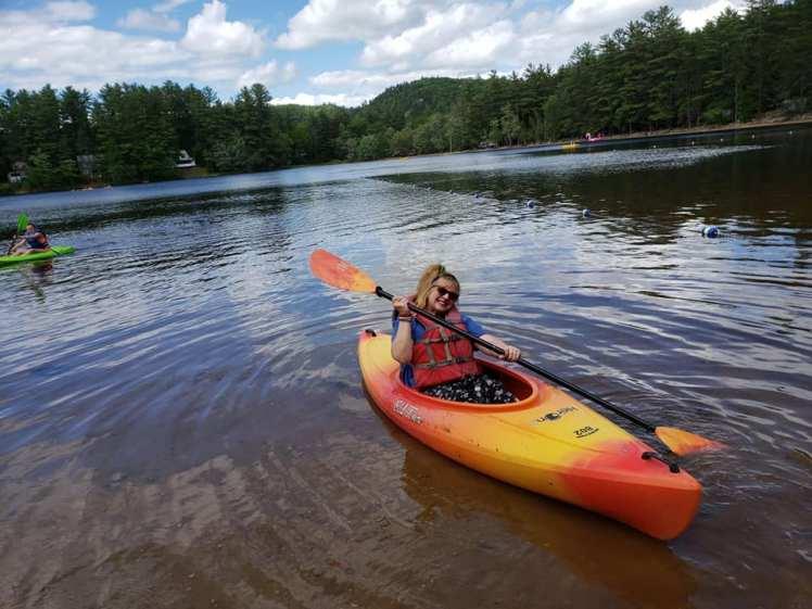 sandy mom kayaking papoose pond june 2019
